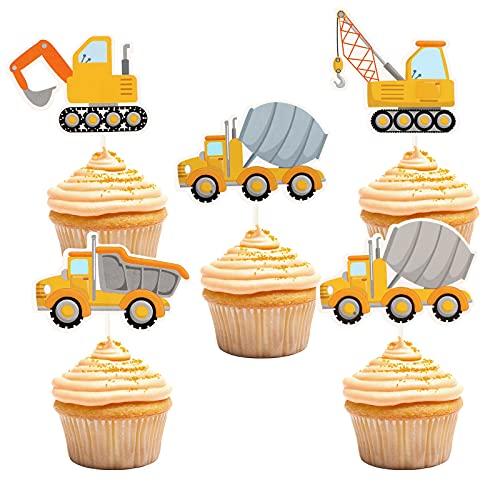 Toyvian 24 Stücke BAU Cupcake Topper LKW Papier Cake Topper Thema Geburtstagsfeier Kuchen Dessert Picks