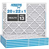 Aerostar Home Max 20x22x1 MERV 13 Pleated Air Filter, Made in the USA, Captures Virus Particles, (Actual Size: 19 3/4'x21 3/4'x3/4'), 6-Pack
