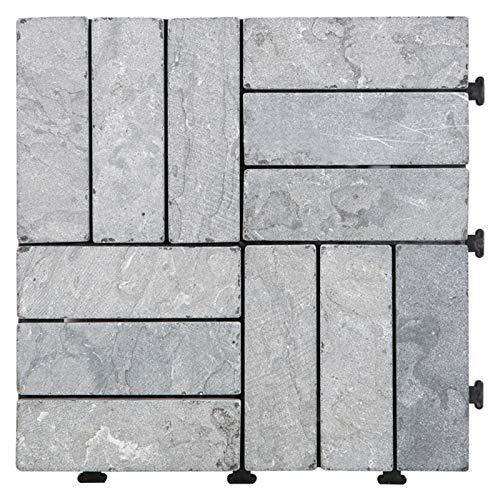HORI® Terrassenfliesen steinoptik I Klick Bodenfliesen aus Naturstein I Modell: Steine grau Staboptik
