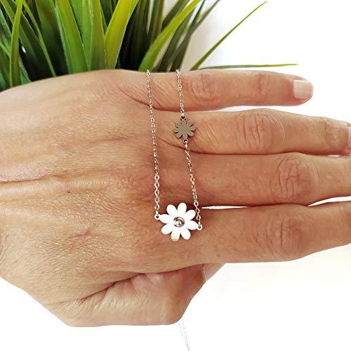 Collar minimalista de acero para mujer. Collar flores. Regalo original mujer, Regalo novia, gargantilla de acero