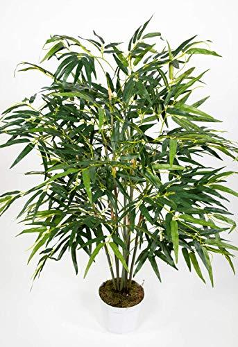 ykop Bambus 120x80cm im weißen Topf PF Kunstbaum Kunstpflanzen künstlicher Baum Pflanzen Kunstbambus