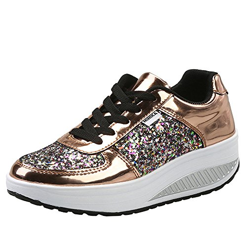 Mujer Zapatillas de Deporte Cuña Zapatos para Caminar Aptitud Plataforma Sneakers con Cordones Calzado de Tacón 4cm Oro EU 39