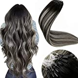LaaVoo Micro Ring Hair Extensions Human Hair 16 Inch Remy Micro Beads Extensions Ombre Off Black to Grey Silver Micro Human Hair Extensions for Women 50g/50s