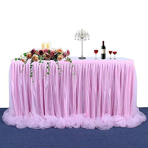 Miaouyo - Falda de tul, color blanco, mantel de tutú, decoración para fiestas, bodas, fiestas de cumpleaños, compromisos, Navidad, candy, bares, bautizos, fiestas, decoración de mesa, rosa, 183 x 78cm
