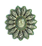 Salida ovalado mediano, diseño de flores, color verde caqui porcelana y cristal de perlas-Colgante con diseño de fantasía