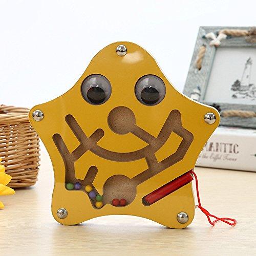 HappyToy Tier Mini Wooden Runde Magnetische Wand Nummer Maze Interaktive Labyrinth Magnet Perlen Labyrinth auf Brettspiel Stadt Verkehr Eduactional Handcraft Toys (Star)