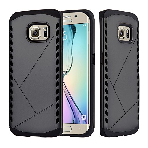 Cadorabo Hülle für Samsung Galaxy S6 Edge - Hülle in Guardian GRAU – Hard Case TPU Silikon Schutzhülle für Hybrid Cover im Outdoor Heavy Duty Design