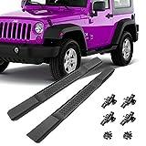 GaofeiLTF Side Steps Fit 2007-2017 Jeep Wrangler JK 2-Door OE Style Running Boards Nerf Bars Exterior Accessories 2pcs Matte Black