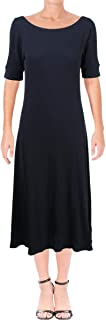 Womens Waffle-Knit Fit & Flare Dress rlnavy S