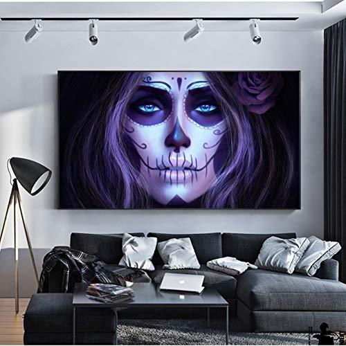 DQPCC Kunstdruck auf Leinwand Dia De Los Muertos Wandkunst Leinwand Tag Der Toten Mädchen Anime Poster Und Drucke Dekorative Bilder Für Bar Cafe Decor (50X70 cm)