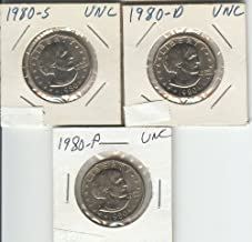 SUSAN B ANTHONY DOLLAR COIN- SET OF THREE- UNCIRCULATED, 1980-P, 1980-D, 1980-S- ALL THREE COINS MINTED IN THAT YEAR FOR CIRCULATION