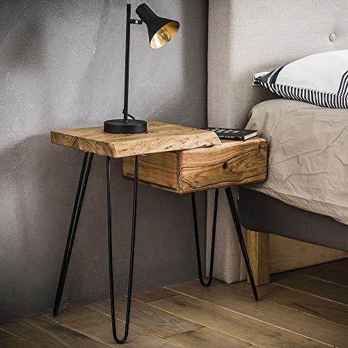 Nachttisch Baumstamm Massivholz Akazie Nachttischchen Links Nachtschrank