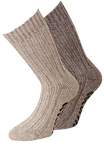 Herren Alpaka Wollsocken Antirutsch Socken ABS Socken Noppensocken Stoppersocken Damen Herren 2 Paar Gr. 43-46