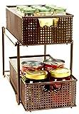 DecoBros Two Tier Mesh Sliding Cabinet Basket Organizer Drawer, Bronze