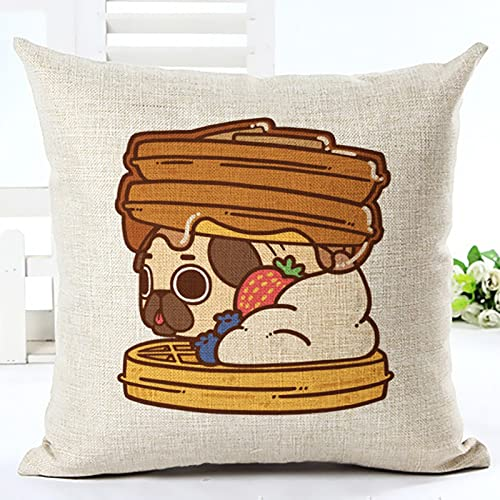 MMHJS Funda De Almohada Decorativa Food Union, Almohada De Siesta con Patrón De Cachorro, Adecuada para Sofá De Casa, Dormitorio, Lavable