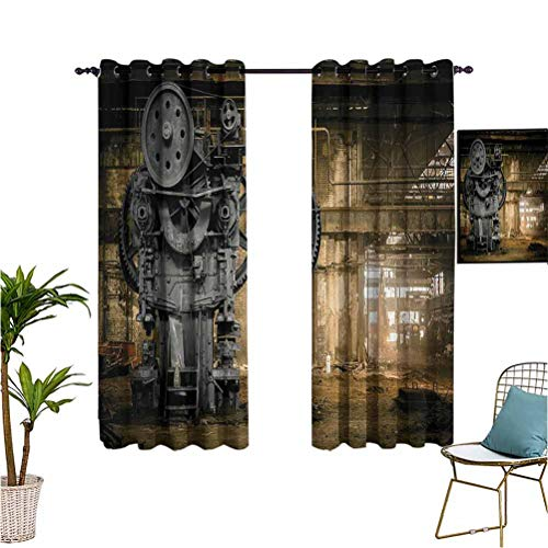 Industrial Decor Collection best home fashion thermal insulated blackout curtains Metallurgical Firm Waiting for a Demolition Messy Dust Vintage Large City Repair Image Printed Darkening Curtains W55