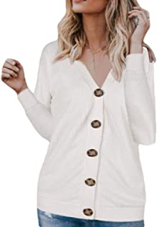Womens Long-Sleeve V Neck Loose Waffle Knit Buttoned Cardigan