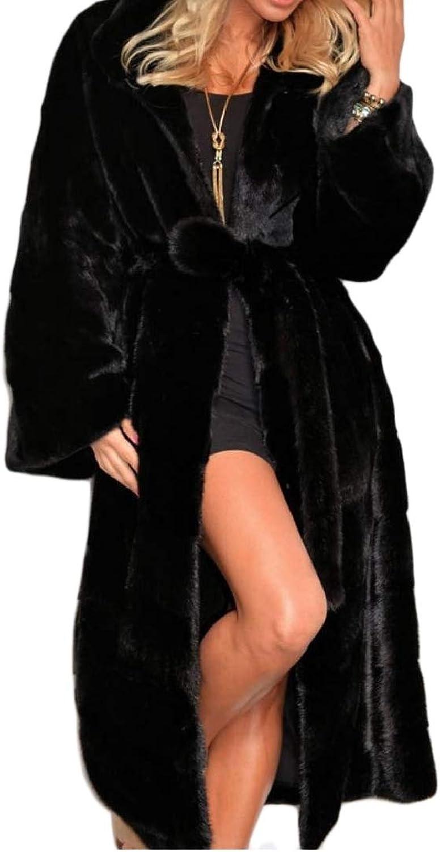 Yingshif Women Fleece Faux Fur Overcoat Hooded Thicken Shearling Coat
