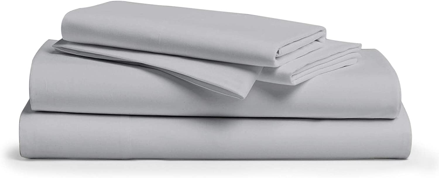 800 Thread Count 100% Egyptain Cotton Sheet Twin Silver Sheets Set, 4-Piece Long-Staple Combed Cotton Best Sheets for Bed, Breathable, Soft & Silky Sateen Weave Fits Mattress Upto 18'' Deep Pocket
