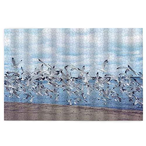 Rompecabezas de 1000 piezas para adultos gaviota océano playa pájaro hermoso mar rompecabezas para niños niñas mayores regalos