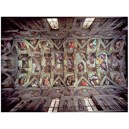 Qilo Capilla Sixtina Rompecabezas 1000 Piezas for Adultos Génesis Adán - World Masterpiece - Decoración Arte de la Pared