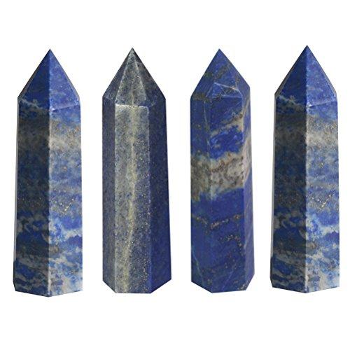 "Luckeeper 2"" Lapis Lazuli Healing Crystal Wands Obelisk Tower 4 PCS"