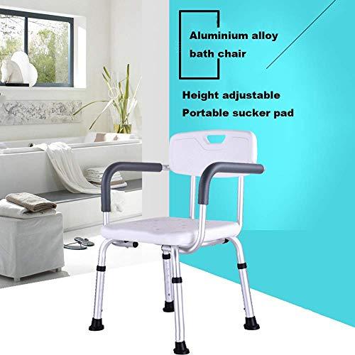 Y-L anti-slip badkamer badstoel aluminiumlegering afneembare rugleuning anti-slip zuignap voetpad licht en gemakkelijk te dragen douchestoel Geschikt voor oudere gehandicapten kinderen Zwangere vrouwen gebruik