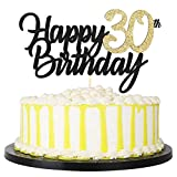 PALASASA Black Gold Glitter Happy Birthday cake topper - 30 Anniversary/Birthday Cake Topper Party...