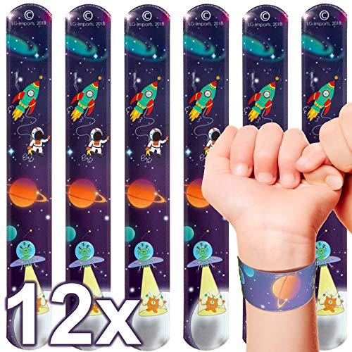 LG-Imports 12x Klatscharmband Weltraum Astronaut | Schnapparmband | Armband Mitgebsel Weltraumparty Kindergeburtstag
