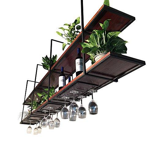 ZRX-Flower Rack Retro Decke-Art Blumen-Stand-festes Holz-Wand-hängendes Wand-Regal verschobenes Decken-Speicher-Gestell-Handels-und Haus-Wein-Gestelle (größe : 120×30×80cm)
