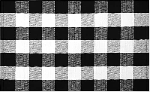 EARTHALL Buffalo Plaid Rug 27.5 x 43 Inches Cotton Hand-Woven Checkered Front Door Rug, Washable Rugs for Front Porch/Farmhouse Black and White