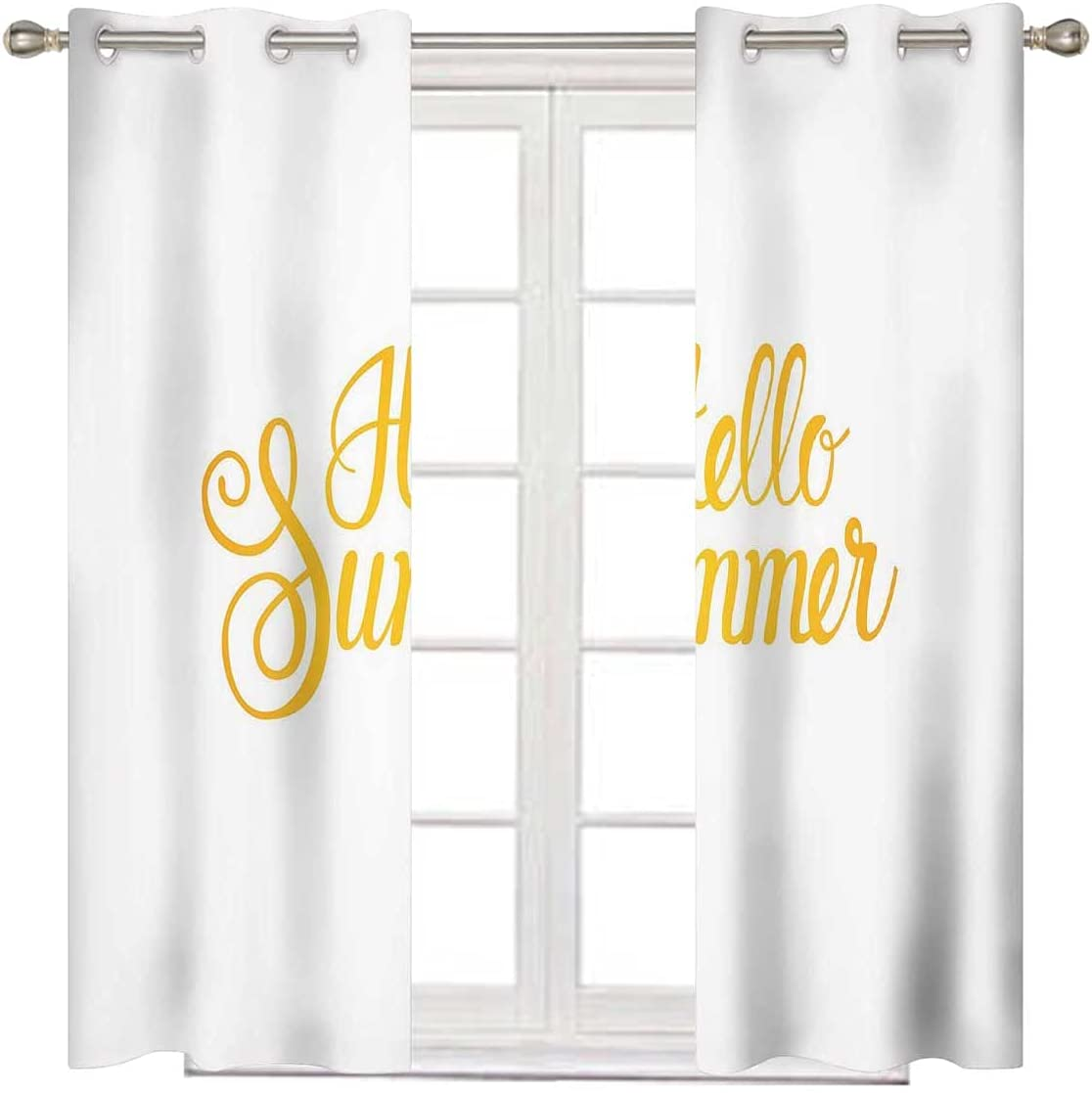 Hello Summer Kids Blackout New Shipping Free Curtains Yellow Long Earth 72 Inches low-pricing