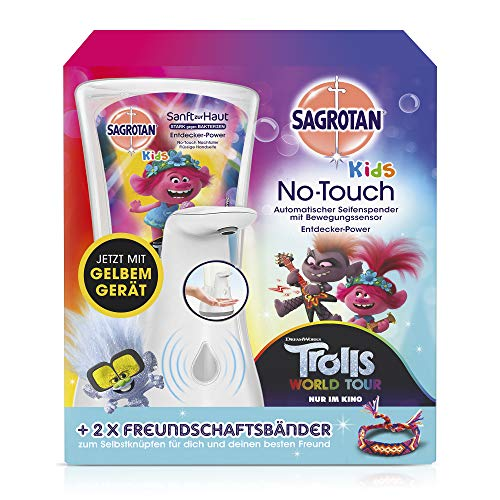 Sagrotan No-Touch Kids Automatischer Seifenspender – Inkl. Sagrotan Nachfüller Entdeckerpower Grapefruit – 1 x 250 ml Flüssigseife
