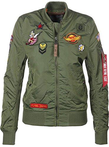 ALPHA INDUSTRIES Jacke Damen MA-1 TT Patch II Wmn, Größe:L, Farbe:sage-Green