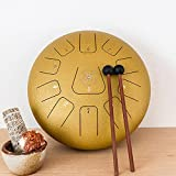 12-Inch Alloy Steel-Tongue-Drum Hue Drum in F-Major,Relaxing Percussion Instrument with 11 Notes, Padded Italian Designer Travel Bag,Mallets and Notated Song Book (Gold)