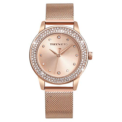 TREEWETO Damenuhr Analog Quarz Armband Armbanduhr Kristall Mesh Edelstahl Gürtel Damen Quarz Diamant Klassische Mode Romantisch Rosegold