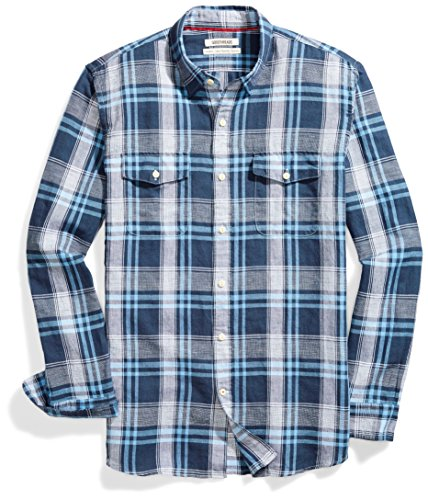 Amazon Brand - Goodthreads Men's Standard-Fit Long-Sleeve Linen and Cotton Blend Shirt, bright blue plaid, X-Large