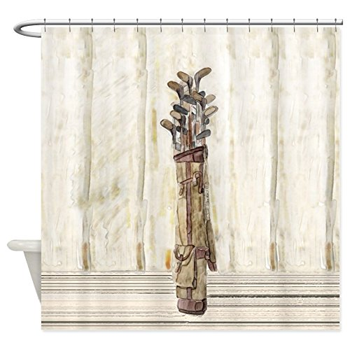 CafePress Antique Watercolor Golf Clubs Decorative Fabric Shower Curtain
