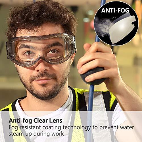 SAFEYEAR Schutzbrille Arbeitsbrille für Brillenträger - SG007 mit Seitenschutz und Rutschfesten Bügeln UV-Schutz mit Lüftung Gartenarbeit (Transparent) - 2