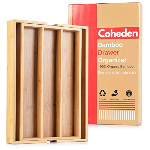 Bamboo Expandable Drawer Organizer by Coheden  Premium Cutlery and Utensil Tray  Multifunctional Organizer Fits With All Drawer Sizes  100% Pure Bamboo Medium 35 Compartments