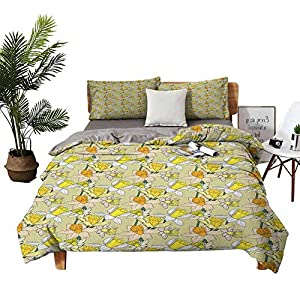 Silk Flower Arrangements DRAGON VINES 4 Bedding Cover Set Silk Sheets Pillowsham Narcissus Flowers Bouquet Colorful Jonquil Blooms Hand Drawn Spring Pattern Multicolor Breathable Fabric W80 xL90