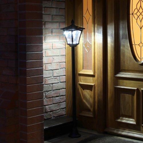 Festive Lights Lampadaire Solaire LED Noir Éclairage Blanc 120cm pour Jardin, Entrées, Chemins (Pile Rechargeable Incluse) - Ecologique et Economique