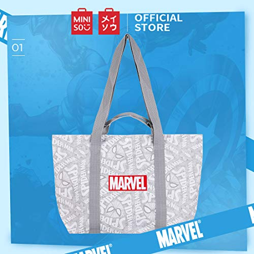MINISO Cotton Canvas Marvel Shoulder Tote Bag with Large Capacity for Women (White and Grey)
