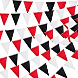 6 Pieces 7.5ft Pennant Flags Banners Triangle Flags Bunting Banner Fabric Flags Garland Flags Hanging Party Decorations for Wedding Birthday Engagement Baby Shower (Black, White, Red)