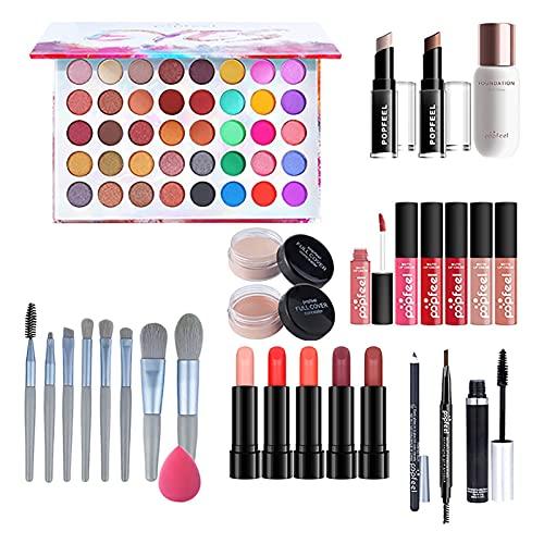 Coffret Cadeau de Maquillage - Kit de Maquillage pour Femme Kit Complet Cosmetic Essential Starter Bundle Kit de Maquillage Tout-en-Un Pro Ensemble cosmétique de beauté Multi-usages