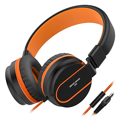 Headphones Besom i36, Kids Headphones Foldable Stereo Ear Headphones w/Mic 3.5mm Jack Wired Cord On-Ear Headset for Children Kid Teens Adult Headphone for School,Home and Travel(Black Orange)