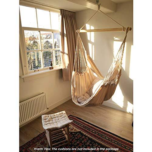 Chihee Hängematte Stuhl Große Hängematte Stuhl Entspannung Hängesessel Baumwolle Weben für Höchsten Komfort und Haltbarkeit Innen/Draußen Zuhause Schlafzimmer Terrasse Deck Hof Garten - 4