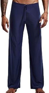 YYG Men's Casual Elastic Waist Sleepwear Ice Silk Lounge Pajama Pants