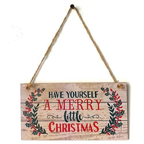 Banbie Frohe Weihnachten Zeichen hängen Brett mit haben Sie Sich EIN frohes Weihnachtsfest Tür Wand Weihnachtsbaum Ornamente