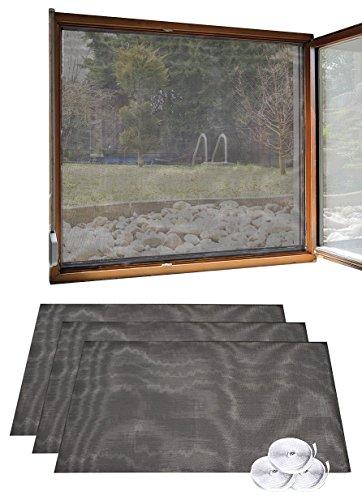 infactory Fensternetz: 3er Set Fliegengitter für Fenster, 130 x 150 cm inkl. 6 m Klebeband (Fliegenschutz)